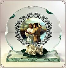 Baptism, Photo Cut Glass Round Plaque Special Limited Edition #2
