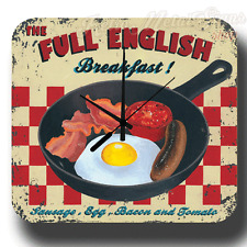 Full English Breakfast BAR CAFE VINTAGE RETRO METAL TIN SIGN WALL CLOCK