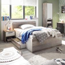 Jugendbett Moon Bett Kinderbett Driftwood weiß inkl. Bettschubkasten 140x200 cm