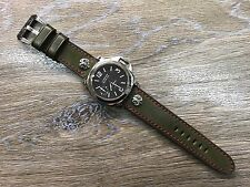 Leather Watch Band, Handmade, Watch Strap, 24mm lug, Army Green, Free Shipping