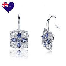 Tanzanite Blue/Purple Cubic Zirconia  Drop Dangle Earrings-Wedding Bridal Gift