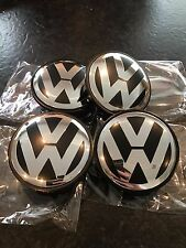 VW Alloy Wheel Centre Caps, Silver Set of 4 65mm Golf MK5/6,Bora,Passat,Scirocco