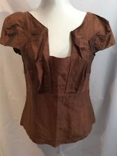"""VERONICA MAINE"" WOMENS CAPPED-SLEEVES RUST COLOURED CRINKLE/UNUSUAL TOP SIZE 12"