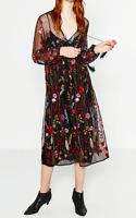 AU seller- Black boho vintage floral embroidered tassel long sleeve mesh dress