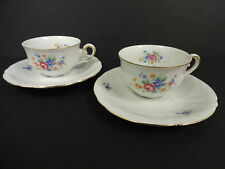 German Cups and Saucers Gold Trim Floral Print Porcelain US Zone Set of 2
