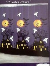 HALLOWEEN PURPLE BLK HAUNTED HOUSE BATS GHOST FABRIC SHOWER CURTAIN 72 X72 COOL!