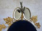 INTÉRIEUR GLOBE de MARIÉE, 2 miroirs, oiseau et raisin, médaille, doré, BLEU ROI