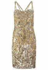 Virgos Lounge Silver Gold Sequin Dress Gatsby Baroque 60s 10 38 6