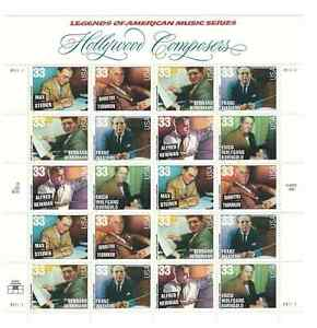 Scott  #3339/44...33 Cent...Hollywood Composers... Sheet of  20