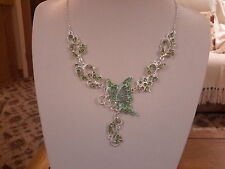 Brand new green Enamel Butterfly Necklace with tiny green crystals and gift box