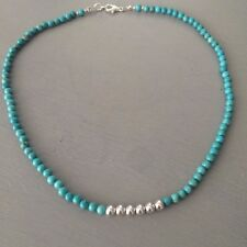 DESIGNER TURQUOISE GEMSTONE CHOKER NECKLACE STERLING SILVER BEADED JEWELRY GIFT