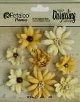 Mini Mix YELLOW GOLD 8 Teastained Paper Flowers 20-35mm Darjeeling Petaloo Ver
