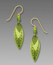 Adajio Earrings Three-Part Slender Leaves in Bright Spring Green Handmade in USA