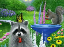 Raccoon squirrel butterfly strawberry limited edition aceo print of painting