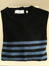 AMI PARIS MENS CREW NECK LONG SLEEVE COLORBLOCKED STRIPED SWEATER SIZE XL