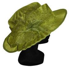 CHAPEAU taille M / L de CEREMONIE femme mariage 100% paille vert anis green hat
