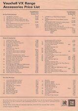 Vauxhall VX Series Accessories Price List 1978 UK Market Leaflet Brochure