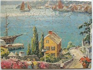Vintage J.K. Straus F.A.O.Schwarz Exclusive Wooden Puzzle SUNNY HARBOR  Figurals