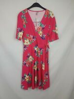 Asos Ladies wrap dress short sleeve floral polyester red mix size 12 new