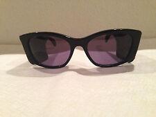 1b510298186d Vintage CHANEL SUNGLASSES BLACK Matelasse leather 1988✩ Wide Temple RARE