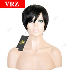 Human Hair Wigs Short Straight Brazilian Hair Wigs for Black Women Color 1B