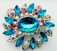 BIG Marvelous ROYAL Blue Star OVAL Spiral RHINESTONE Flower Retro Vintage Brooch