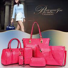 6pcs/Set Women Lady Crocodile Handbag Wallet Crossbody Messenger Bag 2017 M