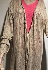Lane Bryant Cardigan Sweater Loose Knit Long Sleeve Tan Women's 18/20