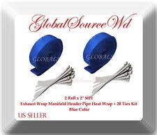 "Blue 2 Roll x 2"" 50Ft Exhaust Wrap Manifold Header Pipe Heat Wrap + 20 Ties Kit"