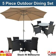 Outdoor Dining Table & Chairs Set Dinner Set with Umbrella Garden Lounge Setting