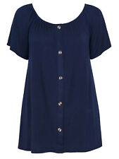 Evans ladies top blouse plus size 22/24 30/32 navy blue stretch button detailing