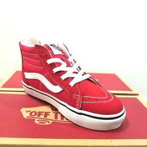 Vans Sk8 Hi Zip Toddler Racing Red/True White Skate Shoes NWB