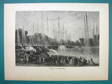 PARIS Versailles Palace Fountain of Neptune - 1877 Wood Engraving Illustration