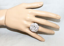 NIB SUZANNE SOMERS Collection Lg White Crystal Flower Ring 625 Sterling Silver