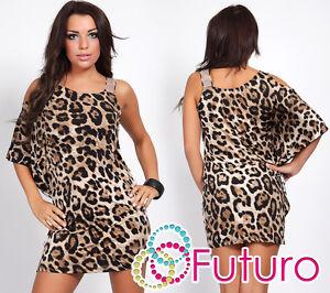 Womens One Shoulder NEW Mini Dress Panther Print Batwing Tunic Sizes 8 -12 FC89