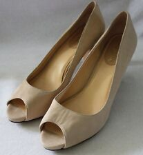 COLE HAAN ~ Beige Sand Embossed Snakeskin Look Leather Peep Toe Heels 8B