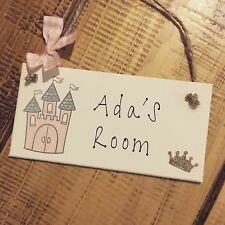 Personalised Name Plaque Door Nursery Bedroom Sign Gift Girl Princess Castle Roo