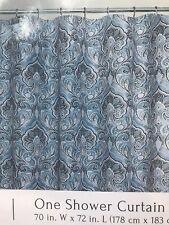 Maya Aqua Blue Embossed Fabric Shower Curtain: Floral Paisley Design