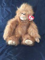 Ty Plush Fuzzy Monkey Orangutan Chimp Brown 10 Inch Stuffed Animal Tag