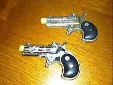 Vintage 1960s Nichols Die Cast Metal Double Barrel Derringer Toy Cap Guns Look