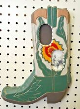Preown Picture FRAME Cowboy BOOT Cowgirl GREEN Hang COUNTRY Gold WESTERN Rustic