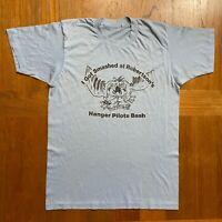 I Got Smashed At Robertson's Hanger Pilots Bash Vtg 80s 50/50 Tee Duck T-Shirt