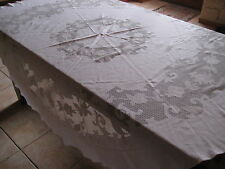 Nappe de table ronde en filet brodé 160 cm de diamètre