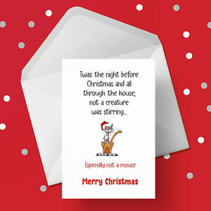 Christmas Card 44 - Free 1st class P&P - Funny cat lover - cat killed the mouse