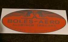 Boles-Aero, Burbank, Calif Vintage style Travel Trailer Decal chrome and red 8.5