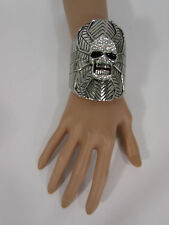 Women Silver Metal Skull Cuff Bracelet Fashion Rhinestones Spider Net Mask Bling
