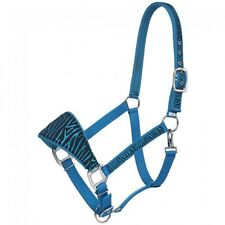 Tough 1 turquoise zebra print padded nose horse size bronc halter horse tack