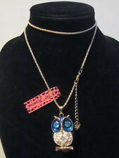 "BETSEY JOHNSON RHINESTONE CRYSTAL BEADS BLUE & WHITE OWL NECKLACE 30"" CHAIN"
