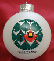 Charlie/ Charley Harper - Glass Christmas Ornament - CONIFEROUS CARDINAL - bird