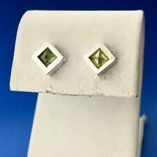 Mignon Faget 925 Sterling Silver 14K Posts Peridot Meridian August Stud Earrings
